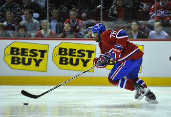 MONTREAL, CANADA - APRIL 18:  P.K. Subban #76 of the Montreal Canadiens skates hard up ice with the puck in Game Three of the Eastern Conference Quarterfinals against the Boston Bruins during the 2011 NHL Stanley Cup Playoffs at the Bell Centre on April 1
