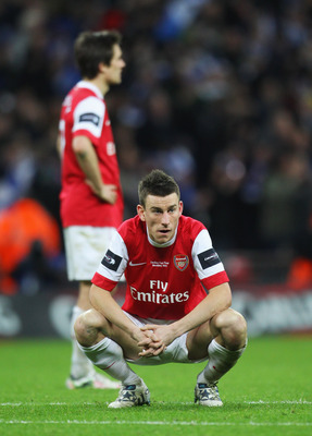 LONDON, ENGLAND - FEBRUARY 27:  Laurent Koscielny of Arsenal looks dejected after the Carling Cup Final between Arsenal and Birmingham City at Wembley Stadium on February 27, 2011 in London, England.  (Photo by Alex Livesey/Getty Images)