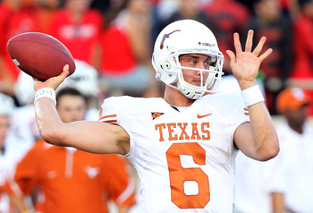 LUBBOCK, TX - SEPTEMBER 18:  Quarterback Case McCoy #6 of the Texas Longhorns at Jones AT&amp;T Stadium on September 18, 2010 in Lubbock, Texas.  (Photo by Ronald Martinez/Getty Images)