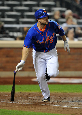 NEW YORK, NY - SEPTEMBER 1: David Wright #5 of the New York Mets watches his two RBI single in the bottom of the third inning against the Florida Marlins at Citi Field on September 1, 2011 in the Flushing neighborhood of the Queens borough of New York Cit