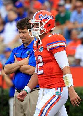 GAINESVILLE, FL - SEPTEMBER 03:  Quarterback John Brantley #12 of the University of Florida Gators warms up prior to a game against the Florida Atlantic University Owls at Ben Hill Griffin Stadium on September 3, 2011 in Gainesville, Florida.  (Photo by S