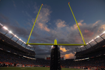 DENVER, CO - SEPTEMBER 12:  The sun sets over the stadium prior to the game as the Oakland Raiders face the Denver Broncos at Sports Authority Field at Mile High on September 12, 2011 in Denver, Colorado.  (Photo by Doug Pensinger/Getty Images)