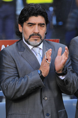 CAPE TOWN, SOUTH AFRICA - JULY 03:  Diego Maradona head coach of Argentina ahead of the 2010 FIFA World Cup South Africa Quarter Final match between Argentina and Germany at Green Point Stadium on July 3, 2010 in Cape Town, South Africa.  (Photo by Chris