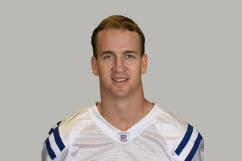 INDIANAPOLIS, IN - CIRCA 2011: In this handout image provided by the NFL,  Peyton Manning of the Indianapolis Colts poses for his NFL headshot circa 2011 in Indianapolis, Indiana.  (Photo by NFL via Getty Images)