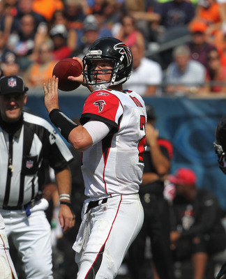 CHICAGO, IL - SEPTEMBER 11:  Matt Ryan #2 of the Atlanta Falcons throws a pass agaiunst the Chicago Bears at Soldier Field on September 11, 2011 in Chicago, Illinois. The Bears defeated the Falcons 30-12.  (Photo by Jonathan Daniel/Getty Images)