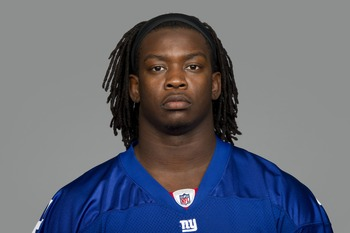 EAST RUTHERFORD, NJ - CIRCA 2011: In this handout image provided by the NFL,  Greg Jones of the New York Giants poses for his NFL headshot circa 2011 in East Rutherford, New Jersey. (Photo by NFL via Getty Images)