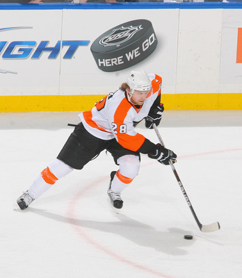 BUFFALO, NY - APRIL 18: Claude Giroux #28 of the Philadelphia Flyers skates against the Buffalo Sabres   in Game Three of the Eastern Conference Quarterfinals during the 2011 NHL Stanley Cup Playoffs at HSBC Arena at HSBC Arena on April 18, 2011 in Buffal