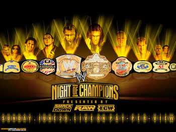 The 2008 WWE Night of Champions poster, featuring all of the belts in WWE at the time.