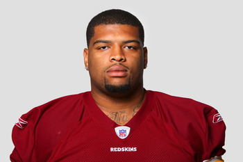ASHBURN, VA - CIRCA 2011: In this handout image provided by the NFL, Trent Williams of the Washington Redskins poses for his NFL headshot circa 2011 in Ashburn, Virginia. (Photo by NFL via Getty Images)