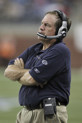 DETROIT - AUGUST 27:  New England Patriots head coach Bill Belichick looks at the scoreboard during the fourth quarter of the game against the Detroit Lions at Ford Field on August 27, 2011 in Detroit, Michigan. The Lions defeated the Patriots 34-10.  (Ph