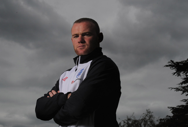 LONDON, ENGLAND - AUGUST 30:  Wayne Rooney poses during the England press conference ahead of their UEFA EURO 2012 Group G qualifier against Bulgaria at London Colney on August 30, 2011 in London, England.  (Photo by Michael Regan/Getty Images)