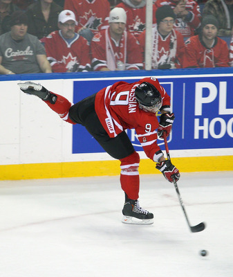 BUFFALO, NY - JANUARY 02: Zack Kassian #9 of Canada shoots against Switzerland during the 2011 IIHF World U20 Championship game between Canada and Switzerland on January 2, 2011 in Buffalo, New York. Canada won 4-1. (Photo by Rick Stewart/Getty Images)