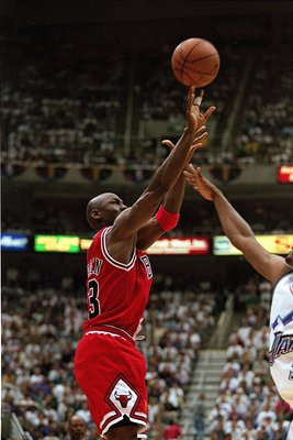 11 Jun 1997:  Michael Jordan #23 of the Chicago Bulls shoots the ball during game five of the NBA Finals against the Utah Jazz at the Delta Center in Salt Lake City, Utah. The Bulls defeated the Jazz 90-88.   Mandatory Credit: Brian Bahr  /Allsport