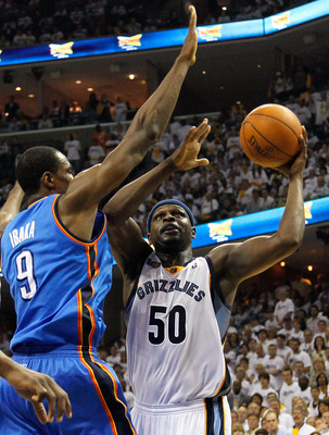 MEMPHIS, TN - MAY 13:  Zach Randolph #50 of the Memphis Grizzlies shoots against Serge Ibaka #9 of the Oklahoma City Thunder in Game Six of the Western Conference Semifinals in the 2011 NBA Playoffs at FedExForum on May 13, 2011 in Memphis, Tennessee.  NO