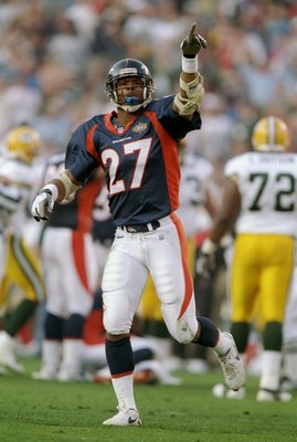 25 Jan 1998:  Steve Atwater #27 of the Denver Broncos celebrates against the Green Bay Packers during Super Bowl  XXXII at Qualcomm Stadium in San Diego, California.  The Denver Broncos defeated the Green Bay Packers 31-24. Mandatory Credit: Andy Lyons  /