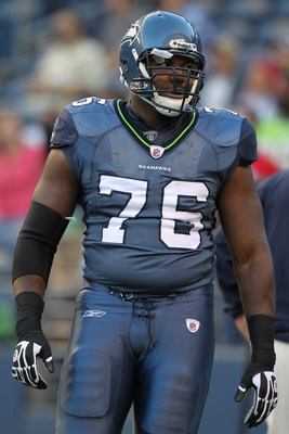 SEATTLE, WA - SEPTEMBER 02:  Russell Okung #76 of the Seattle Seahawks warms up prior to the game against the Oakland Raiders at CenturyLink Field on September 2, 2011 in Seattle, Washington. (Photo by Otto Greule Jr/Getty Images)
