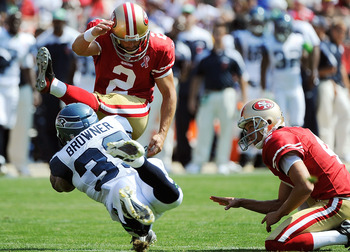SAN FRANCISCO, CA - SEPTEMBER 11: David Akers #2 of the San Francisco 49ers kicks a field goal pass the out stretched arms of Brandon Browner #39 of the Seattle Seahawks in the second quarter of the season-opening game at Candlestick Park on September 11,