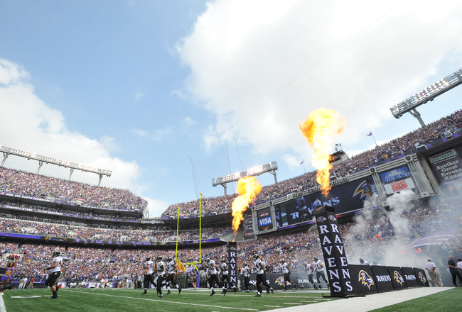 BALTIMORE - SEPTEMBER 11:  The Baltimore Ravens take the field before the game against the Pittsburgh Steelers during the season opener at M&T Bank Stadium on September 11. 2011 in Baltimore, Maryland. The Ravens lead the Steelers 21-7 at the half. (Photo