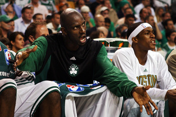 BOSTON - MAY 14:  Kevin Garnett #5 of the Boston Celtics shouts from the sidelines against the Cleveland Cavaliers during Game Five of the Eastern Conference Semifinals during the 2008 NBA Playoffs at the TD Banknorth Garden May 14, 2008 in Boston, Massac