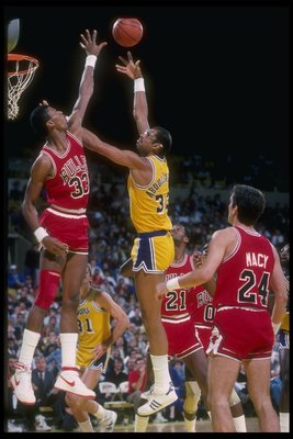 1985-1986:  Center Kareem Abdul-Jabbar of the Los Angeles Lakers goes up for the ball during a game. Mandatory Credit: ALLSPORT USA  /Allsport Mandatory Credit: ALLSPORT USA  /Allsport