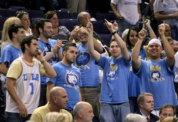 PHOENIX - MARCH 27:  UCLA Bruins fans celebrate after their team won the game 88-78 over the Western Kentucky Hilltoppers in the West Regional Sweet 16 game at the U.S. Airways Center on March 27, 2008 in Phoenix, Arizona.  (Photo by Stephen Dunn/Getty Im