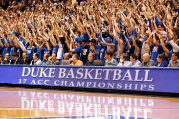 DURHAM, NC - JANUARY 17:  Fans of the Duke Blue Devils cheer during the game against the Wake Forest Demon Deacons on January 17, 2010 in Durham, North Carolina.  (Photo by Streeter Lecka/Getty Images)