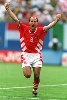 10 Jul 1994: IORDAN LETCHKOV OF BULGARIA CELEBRATES AFTER SCORING THE WINNING GOAL DURING ITS 2-1 VICTORY OVER GERMANY IN THE QUARTER FINALS OF THE 1994 WORLD CUP AT GIANTS STADIUM IN THE MEADOWLANDS, NEW JERSEY.