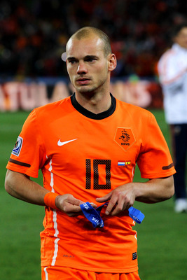 JOHANNESBURG, SOUTH AFRICA - JULY 11:  Dejected Wesley Sneijder of the Netherlands after defeat during the 2010 FIFA World Cup South Africa Final match between Netherlands and Spain at Soccer City Stadium on July 11, 2010 in Johannesburg, South Africa.  (