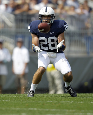 STATE COLLEGE, PA - SEPTEMBER 3:  Drew Astorino #28 of the Penn State Nittany Lions catches an interception against the Indiana State Sycamores during the game on September 3, 2011 at Beaver Stadium in State College, Pennsylvania.  (Photo by Justin K. All