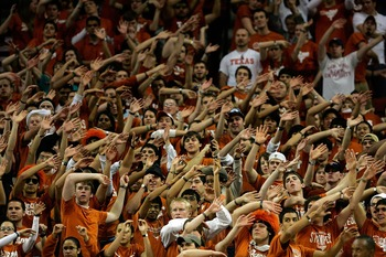 AUSTIN, TX - JANUARY 26: Texas Longhorns fans try to distract the Texas Tech Red Raiders on January 26, 2008 at the Frank Erwin Center in Austin, Texas  (Photo by Ronald Martinez/Getty Images)