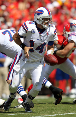 KANSAS CITY, MO - SEPTEMBER 11:  Quarterback Ryan Fitzpatrick #14 of the Buffalo Bills in action during the game against the Kansas City Chiefs at Arrowhead Stadium on September 11, 2011 in Kansas City, Missouri.  (Photo by Jamie Squire/Getty Images)