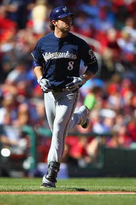 ST. LOUIS, MO -SEPTEMBER 5: Ryan Braun #8 of the Milwaukee Brewers rounds third base after hitting a solo home run against the St. Louis Cardinals at Busch Stadium on September 5, 2011 in St. Louis, Missouri.  (Photo by Dilip Vishwanat/Getty Images)