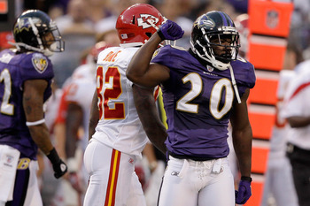 BALTIMORE, MD - AUGUST 19: Ed Reed #20 of the Baltimore Ravens reacts after deflecting a pass intended for Dwayne Bowe #82 of the Kansas City Chiefs during the first half of a preseason game at M&T Bank Stadium on August 19, 2011 in Baltimore, Maryland.