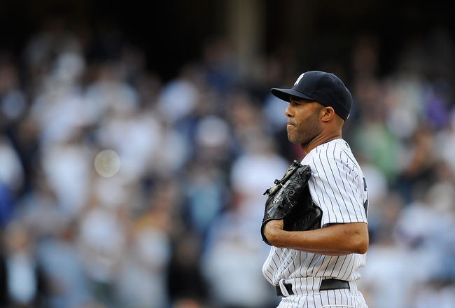 NEW YORK, NY - SEPTEMBER 19:  Mariano Rivera  #42 of the New York Yankees prepares to throw a pitch in the ninth inning against the Minnesota Twins at Yankee Stadium on September 19, 2011 in the Bronx borough of New York City. Rivero became the all-time l