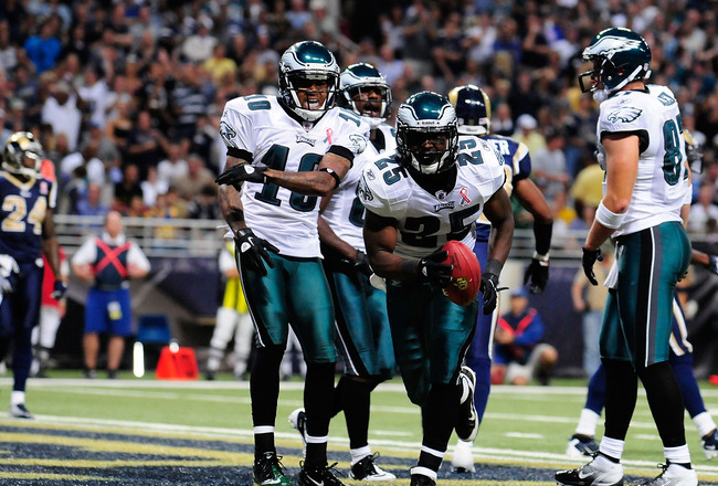 ST. LOUIS, MO - SEPTEMBER 11: LeSean McCoy #25 of the Philadelphia Eagles celebrates with DeSean Jackson #10 after scoring a touchdown against the St. Louis Rams at the Edward Jones Dome on September 11, 2011 in St. Louis, Missouri. The Eagles defeated th