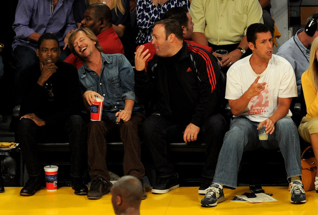 LOS ANGELES, CA - JUNE 03:  (L-R) Actors Chris Rock, David Spade, Kevin James and Adam Sandler attend Game 1 of the NBA Finals between the Los Angeles Lakers and the Boston Celtics at Staples Center on June 3, 2010 in Los Angeles, California.  (Photo by M
