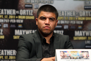 NEW YORK, NY - JUNE 28:  Victor Ortiz at a press conferece about his upcoming fight against Floyd Mayweather on June 28, 2011 at the Hudson Theatre in New York City.  (Photo by Daniel Barry/Getty Images)