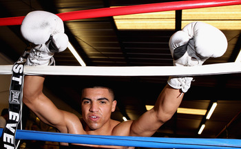 LAS VEGAS - DECEMBER 08:  Victor Ortiz during his open workout at IBA gym on December 8, 2010 in Las Vegas, Nevada.  (Photo by Scott Heavey/Getty Images)