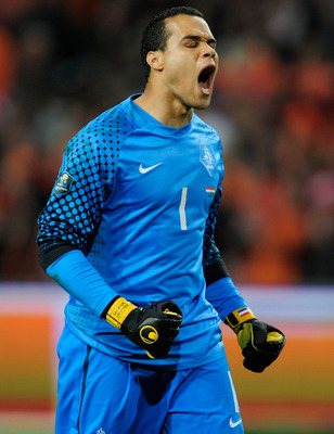 AMSTERDAM, NETHERLANDS - MARCH 29:  Michel Vorm of the Netherlands in action during the Group E, EURO 2012 Qualifier between Netherlands and Hungary at the Amsterdam Arena on March 29, 2011 in Amsterdam, Netherlands.  (Photo by Jamie McDonald/Getty Images