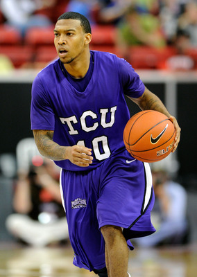 LAS VEGAS, NV - MARCH 09:  Hank Thorns #10 of the Texas Christian University Horned Frogs brings the ball up the court against the Wyoming Cowboys during the first round of the Conoco Mountain West Conference Basketball tournament at the Thomas & Mack Cen