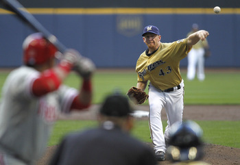 MILWAUKEE, WI - SEPTEMBER 10:  Starter Randy Wolf #43 of the Milwaukee Brewers pitches against the Philadelphia Phillies at Miller Park on September 10, 2011 in Milwaukee, Wisconsin. (Photo by Mark Hirsch/Getty Images)
