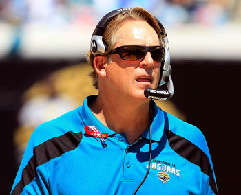 JACKSONVILLE, FL - SEPTEMBER 11:  Head coach Jack Del Rio of the Jacksonville Jaguars watches the action during the season opener game against the Tennessee Titans  at EverBank Field on September 11, 2011 in Jacksonville, Florida.  (Photo by Sam Greenwood