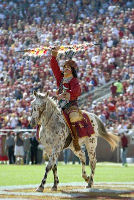 TALLAHASSEE, FL - NOVEMBER 25: Chief Osceola of the Florida State Seminoles holds up a spear during the pre-game ceremony before taking on the Florida Gators at Doak Campbell Stadium November 25, 2006 in Tallahassee, Florida. Florida defeated Florida Stat