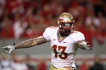 RALEIGH, NC - OCTOBER 28:  Nigel Bradham #13 of the Florida State Seminoles against the North Carolina State Wolfpack during their game at Carter-Finley Stadium on October 28, 2010 in Raleigh, North Carolina.  (Photo by Streeter Lecka/Getty Images)