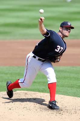 WASHINGTON, DC - SEPTEMBER 11:  Stephen Strasburg #37 of the Washington Nationals pitches against the Houston Astros at Nationals Park on September 11, 2011 in Washington, DC.  (Photo by Greg Fiume/Getty Images)