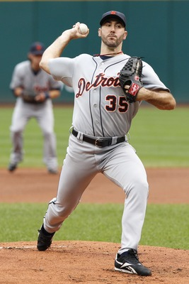 CLEVELAND, OH - SEPTEMBER 7:   Justin Verlander #35 of the Detroit Tigers pitches against the Cleveland Indians during the first inning of their game on September 7, 2011 at Progressive Field in Cleveland, Ohio.  The Tigers defeated the Indians 8-6.   (Ph