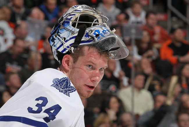 PHILADELPHIA - MARCH 03:  James Reimer #34 of the Toronto Maple Leafs looks on against the Philadelphia Flyers during their game on March 3, 2011 at The Wells Fargo Center in Philadelphia, Pennsylvania.  (Photo by Al Bello/Getty Images)