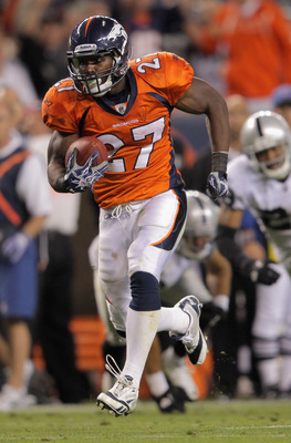 DENVER, CO - SEPTEMBER 12:  Running back  Knowshon Moreno #27 of the Denver Broncos rushes against the Oakland Raiders at Sports Authority Field at Mile High on September 12, 2011 in Denver, Colorado. The Raiders defeated the Broncos 23-20.  (Photo by Dou
