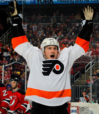 NEWARK, NJ - APRIL 01:  James van Riemsdyk #21 of the Philadelphia Flyers celebrates scoring a goal against the New Jersey Devils during the first period of an NHL hockey game at the Prudential Center on April 1, 2011 in Newark, New Jersey.  (Photo by Pau