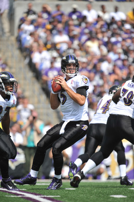 BALTIMORE, MD - SEPTEMBER 11:  Joe Flacco #5 of the Baltimore Ravens passes against the Pittsburgh Steelers at M&T Bank Stadium on September 11, 2011 in Baltimore, Maryland. The Ravens defeated the Steelers 35-7. (Photo by Larry French/Getty Images)